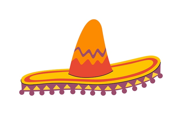 Traditionele mexicaanse breedgerande sombrero hoed mexico nationale hand getekende hoofdtooi vector