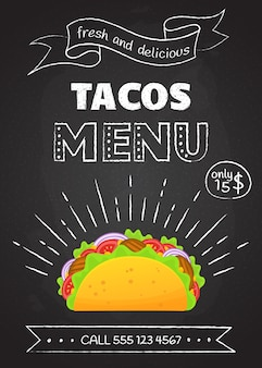 Traditionele mexicaanse fastfood maaltijd taco's menu