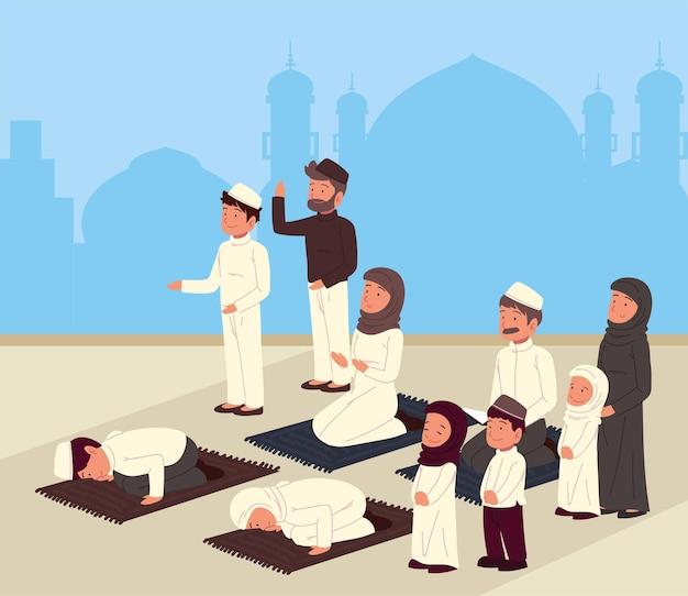 Traditionele moslimmensen bidden cartoon