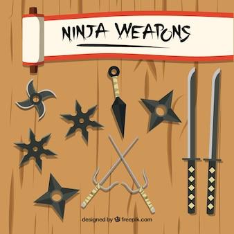 Traditionele ninja-elementencollectie met plat ontwerp