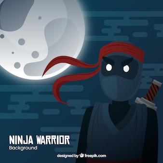 Traditionele ninja krijger achtergrond met platte ontwerp