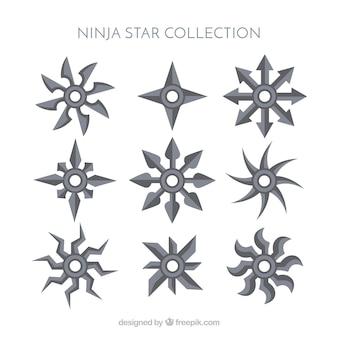 Traditionele ninja-sterrencollectie met plat ontwerp
