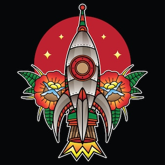 Traditionele raketflits-tatoeage