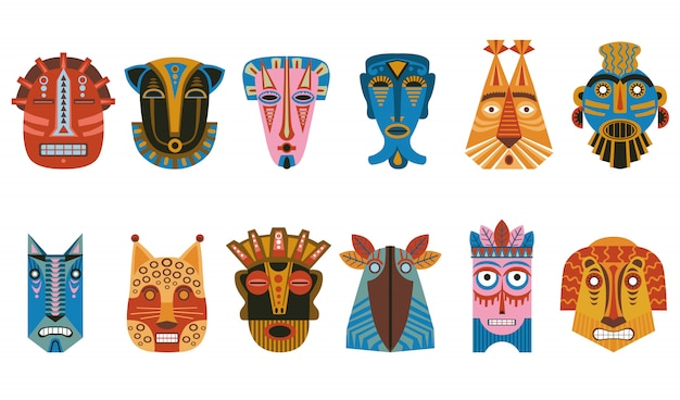 Traditionele rituele maskers icon kit
