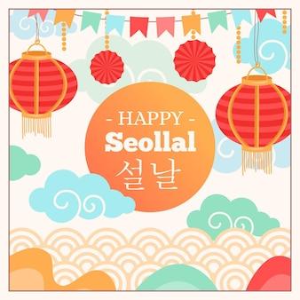 Traditionele rode lantaarns koreaans nieuwjaar