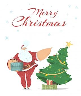 Traditionele seizoensgebonden wenskaart merry christmas