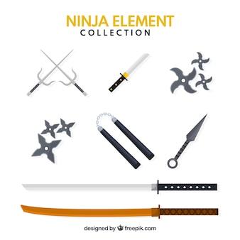 Traditionele set ninja-elementen met plat ontwerp