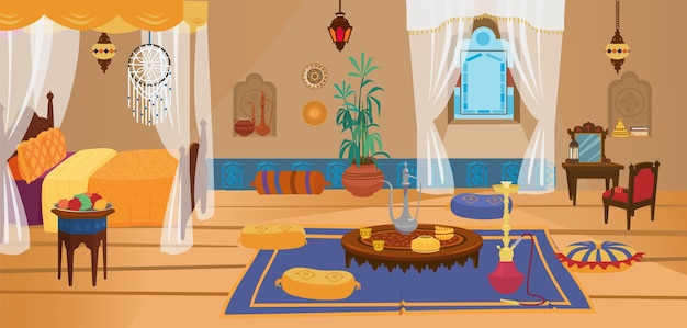 Traditionele slaapkamer uit het midden-oosten met meubels en decoratie-elementen.