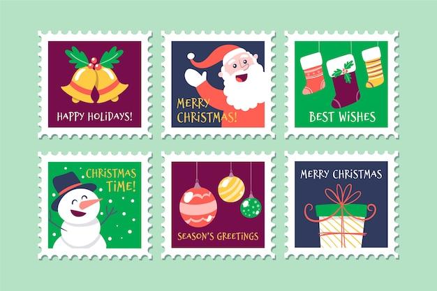 Traditionele symbolen op kerstzegelverzameling