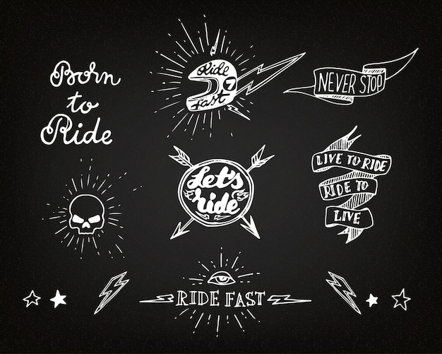 Traditionele tattoo biker desgin-elementen