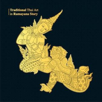 Traditionele thaise kunst in ramayana verhaal, stijl vector