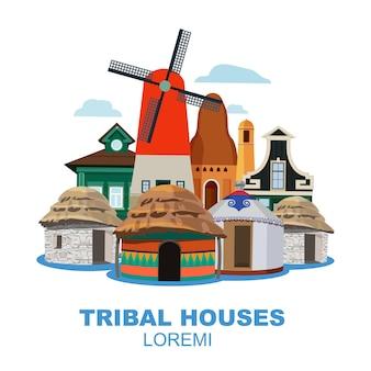 Traditionele tribale huizen van verschillende volkeren. cartoon platte illustratie