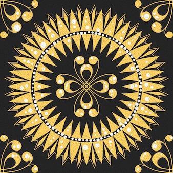 Traditionele vintage naadloze gouden bloemmotief op een zwarte achtergrond