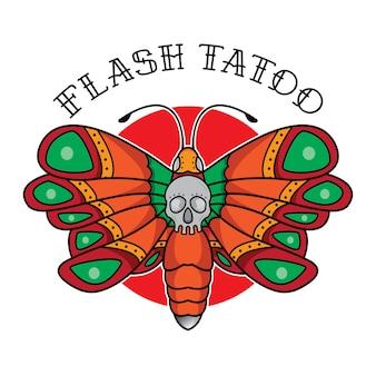 Traditionele vlinderflits-tatoeage
