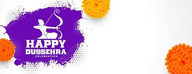 Traditionele vrolijke dussehra-festivalbanner met realistische bloemen