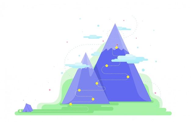 Trail naar doel. klimmen wandelpunt. concept manier om succesvol te zijn.