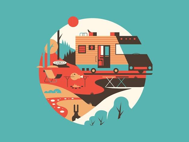 Trailer machine huis. transportreizen voor vakantie, huis op wiel, illustratie
