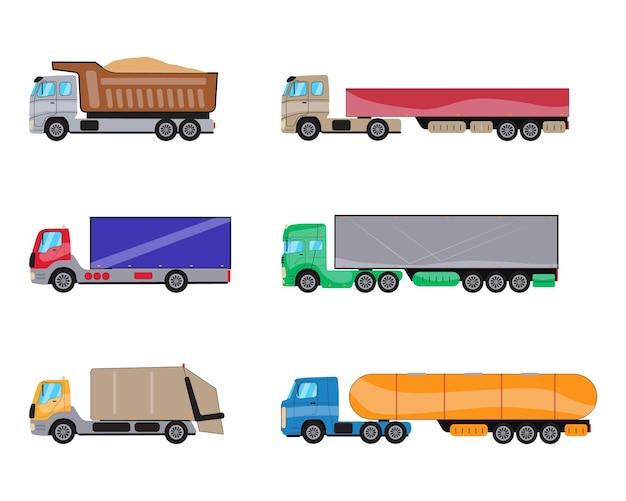 Trailer vrachtwagens zijaanzicht set commerciële vrachtwagen met container dump truck vuilniswagen