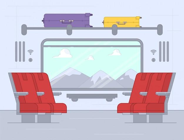 Train binnen. comfortabele stoel voor passagiers in snelheidsvervoer per spoor.