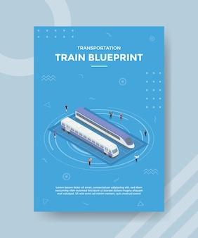 Train blauwdrukconcept voor sjabloonbanner en flyer met isometrische stijl