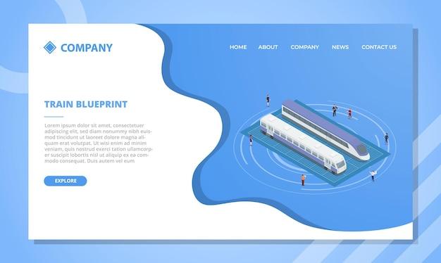 Train blauwdrukconcept voor websitesjabloon of landingshomepage met isometrische stijl vectorillustratie