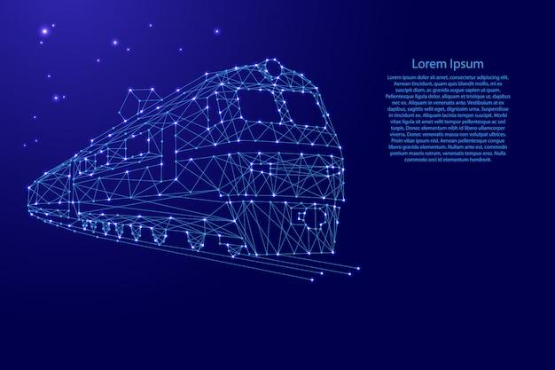 Train elektrische locomotief met rijtuigen van futuristische veelhoekige blauwe lijnen en gloeiende sterren sjabloon