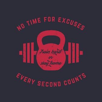 Train hard, vintage gym t-shirt design, print, kettlebell en barbell, rood op donker, vector illustratie