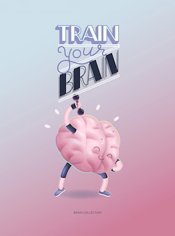 Train je breinaffiche met letters, haltersoefeningen