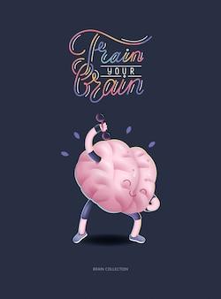 Train je breinaffiche met letters