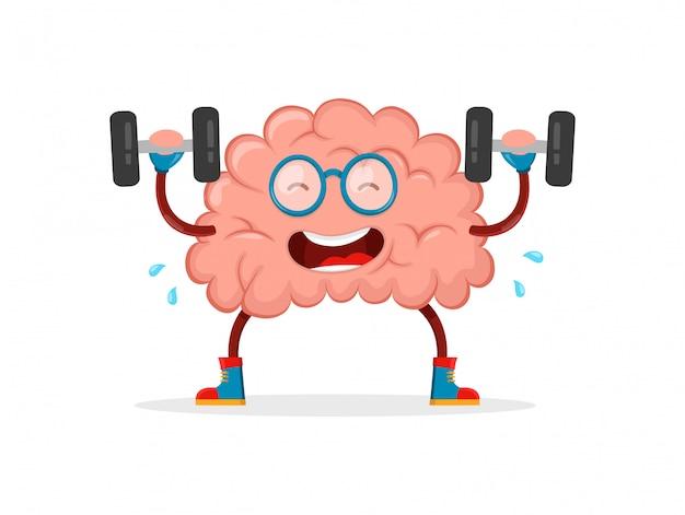 Train je hersenen. hersenen cartoon vlakke afbeelding leuk karakter