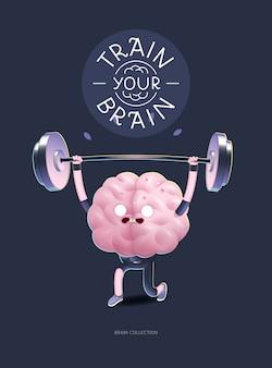 Train je hersenkarakter met letters, gewichtheffen