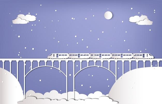 Train op de brug in wintertijd papier gesneden stijl