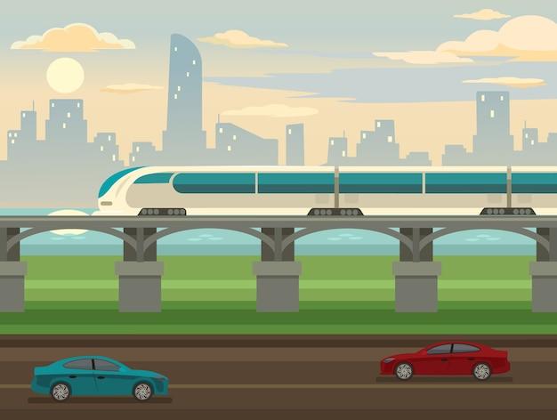 Train op spoor en brug