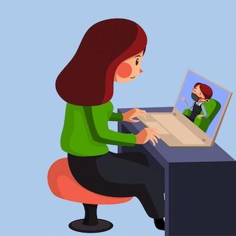 Trainee heeft online sessie met haar manager