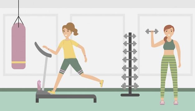 Trainen in de fitnessclub.