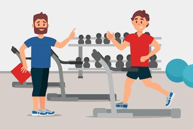 Trainer en jonge man op de loopband. sport gym interieur met apparatuur. actieve training. kleurrijk plat ontwerp