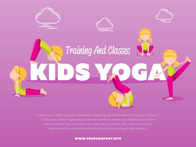 Training en lessen kinderen yoga sjabloon