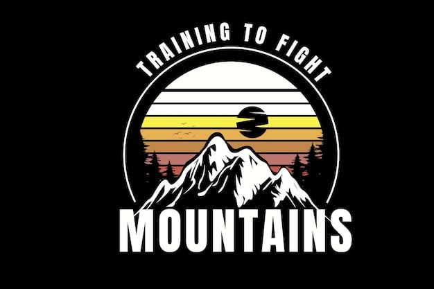 Training om te vechten tegen bergen, kleur wit en geel