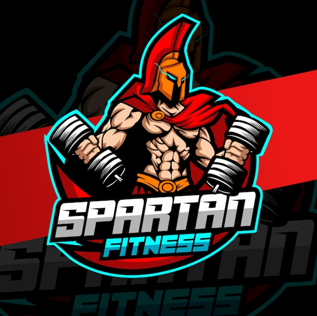 Training spartaanse mascotte fitness logo ontwerp