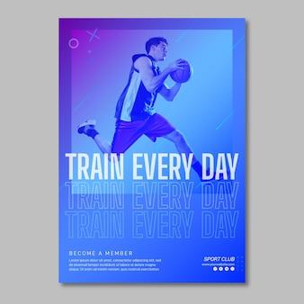 Training verticale poster sjabloon met foto