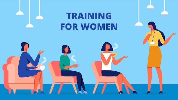 Training voor vrouwen. coach communiceer met klant.