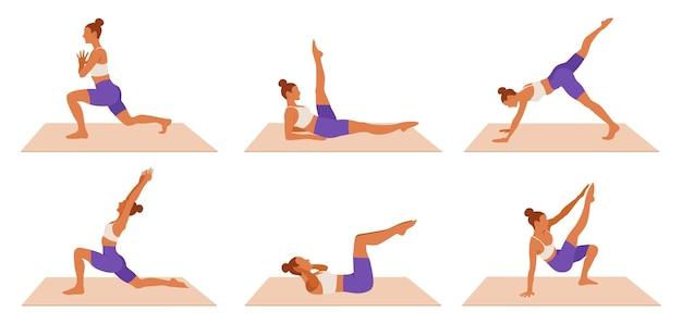 Training vrouw set. meisje doet fitness, aerobics en yoga-oefeningen.