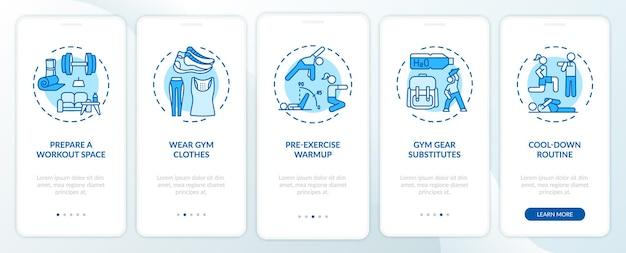 Trainingsadviezen voor thuis onboarding van het paginascherm van de mobiele app met concepten. fitnessruimte, gymkleding, doorlooptrap voor warming-up. ui-sjabloon met rgb-kleur