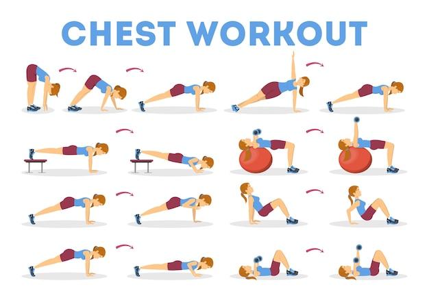 Trainingsset voor de borst. verzameling van oefeningen voor arm