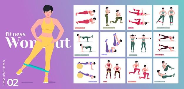 Trainingsset voor vrouwen vrouwen die fitness- en yoga-oefeningen doen