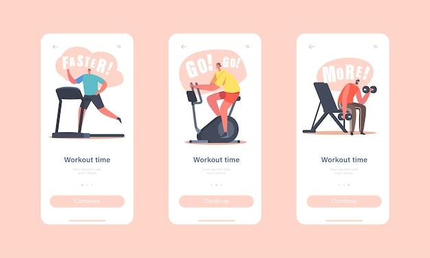 Trainingstijd mobiele app-pagina onboard-schermsjabloon. tekens trainen in de sportschool. sportmannen sportvrouwen karakters