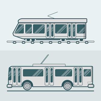 Tram tram trolley trolleybus weg spoor elektrische eco vriendelijke lijntekeningen