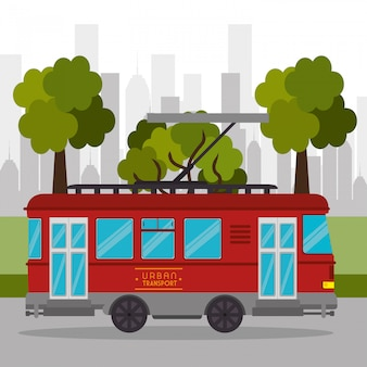 Tram vervoer retro service stedelijke