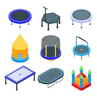 Trampoline iconen set, isometrische stijl