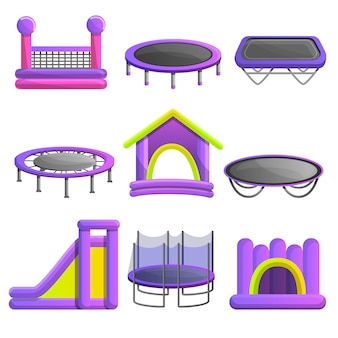 Trampoline pictogramserie. beeldverhaalreeks trampoline vectorpictogrammen voor webontwerp